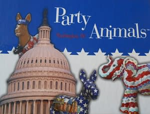 """Cleve collaborated with artist Harriet Lesser to produce a mixed-media show at Parrish Gallery in DC called """"Under Surveillance"""" in 2010. He and Jude also collaborated with Harriet on an imaginative DC Public Art Project, """"Party Animals."""""""